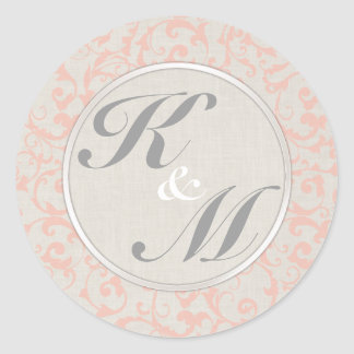 SmartElegance Coral Initials Favor Stickers