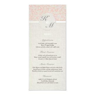 SmartElegance Coral Wedding Menu 4x9.25 Paper Invitation Card