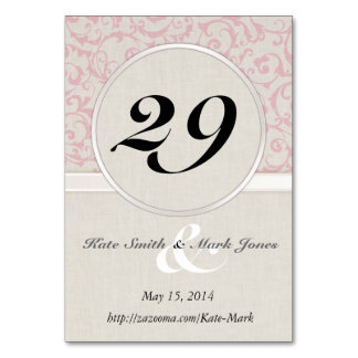 SmartElegance Pink Wedding Collection Table Card