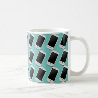 smartphone, android. Teal green background. Basic White Mug
