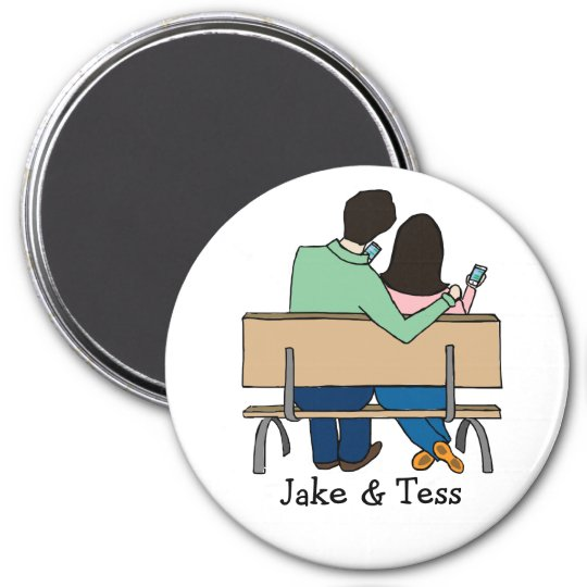 Smartphone-loving couple- custom cartoon magnet