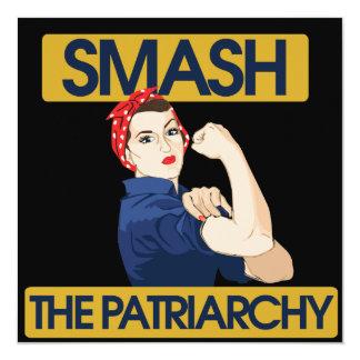 """Smash the Patriarchy 5.25"""" Square Invitation Card"""