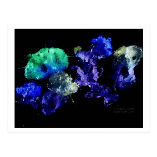 Smashed Flowers Design, Black back glowing Postcard