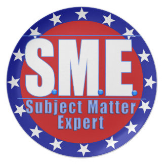 SME  LOGO SUBJECT MATTER EXPERT WHITE/BLUE PLATE