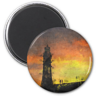 Smeaton's Tower at Sunset 6 Cm Round Magnet