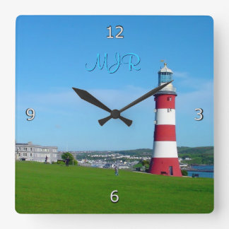 Smeaton's Tower, The Hoe, Plymouth Square Wall Clock