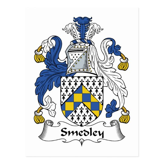 Smedley Family Crest Postcard