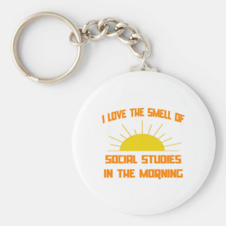 Smell of Social Studies in the Morning Basic Round Button Key Ring