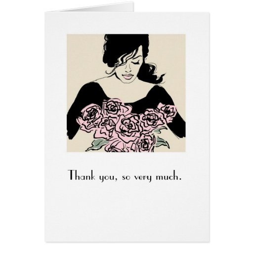 """""""Smelling Roses"""" Illustration Thank You Card"""