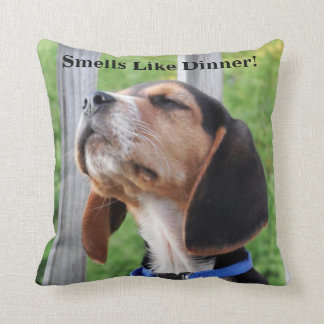 Smells Like Dinner Beagle Puppy Sniffing The Air Cushion