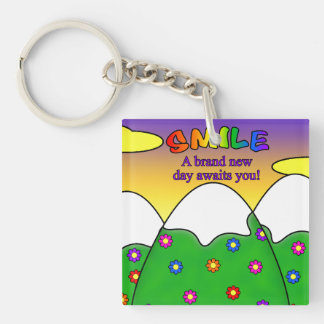 Smile A Brand New Day Awaits You Square Keychain