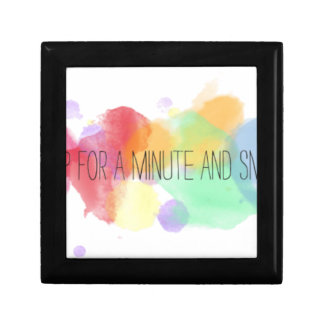 smile and happy peace life with colorful quote gift box