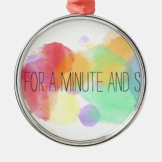 smile and happy peace life with colorful quote Silver-Colored round decoration