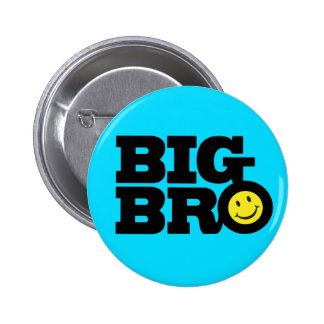 Smile Big Bro button badge in blue black & yellow