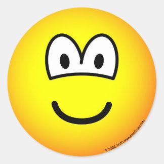 Smile! big tellow emoticon classic round sticker