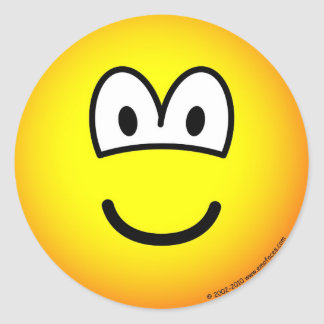 Smile! big tellow emoticon round sticker