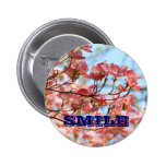 SMILE buttons Floral Pink Dogwood Flowers button
