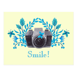 Smile! Camera With Blue Leaves And Butterflies Postcard