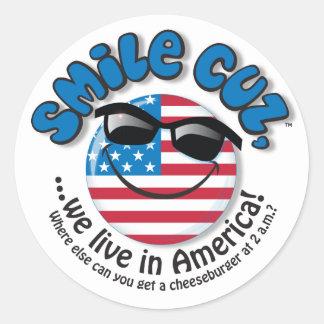 smile cuz, round sticker