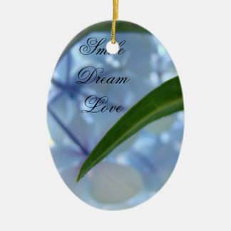 Smile Dream Love ornaments Blue Floral Holiday