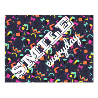 Smile everyday motivational quote memphis pattern postcard
