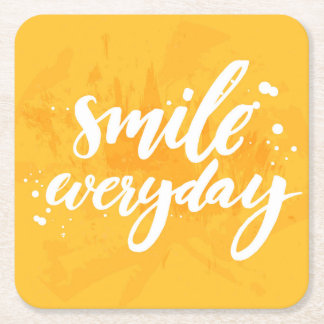 Smile Everyday Square Paper Coaster