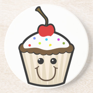 Smile Face Cupcake Beverage Coasters