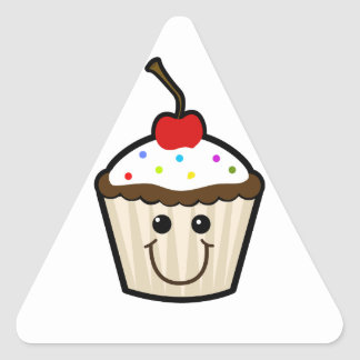 Smile Face Cupcake Triangle Stickers