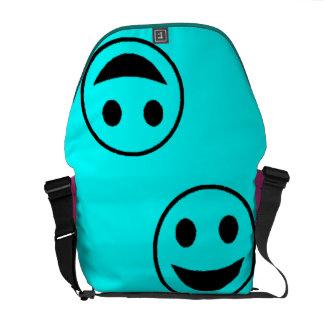 Smile Face -LT Blue Messenger Bags