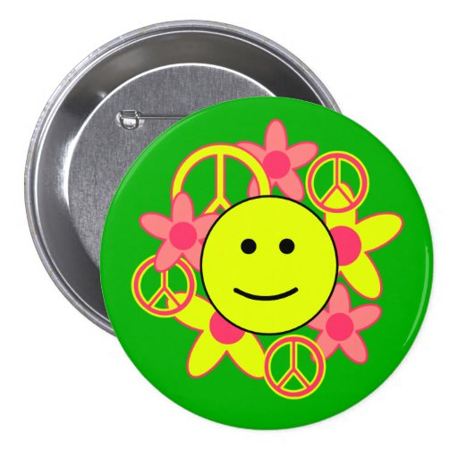 Smile Face with Peace Signs and Flowers Pin
