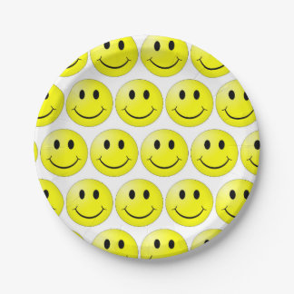smile faces  Paper Plates 7 in