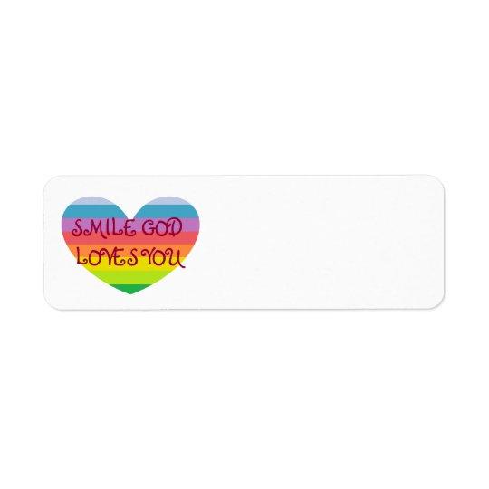 SMILE GOD LOVES YOU Label Return Address Label