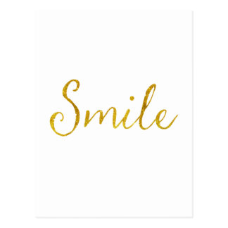 Smile Gold Faux Glitter Metallic Sequins Quote Postcard