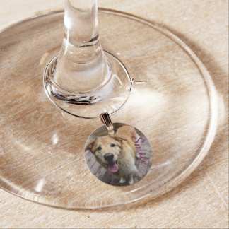 Smile - Golden Wine Glass Charms