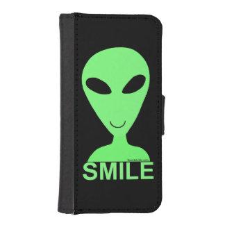 Smile Happy Alien LGM Geek Fun Phone Wallet Case