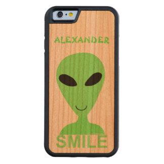 Smile Happy Alien LGM Geek Humor Cute Fun Carved® Walnut iPhone 6 Bumper Case