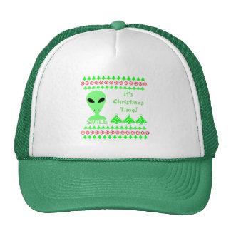 Smile Happy Alien LGM Geek Humor Little Green Man Hat