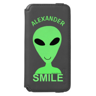 Smile Happy Alien LGM Geek Humor Little Green Man Incipio Watson™ iPhone 6 Wallet Case
