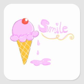 Smile Ice Cream Square Sticker