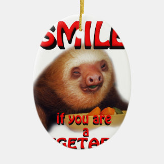 smile if you are vegetarian ceramic oval decoration