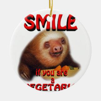 smile if you are vegetarian round ceramic decoration