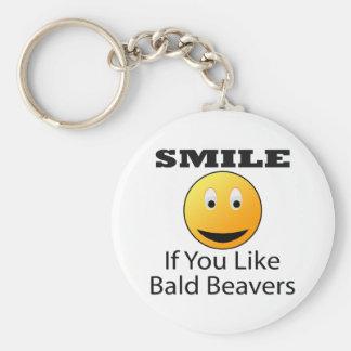 Smile If You Like Bald Beaver Basic Round Button Key Ring