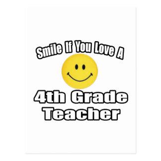 Smile If You Love A 4th Grade Teacher Postcard