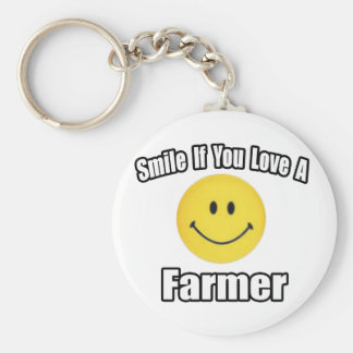 Smile If You Love a Farmer Basic Round Button Key Ring