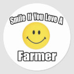 Smile If You Love a Farmer Round Stickers