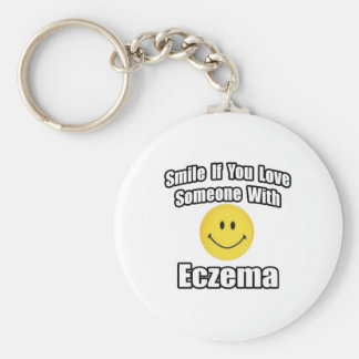 Smile If You Love Someone With Eczema Basic Round Button Key Ring