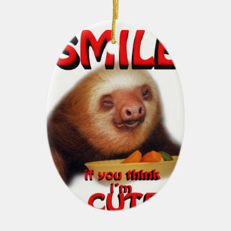 smile if you think i'm cute. ceramic oval decoration