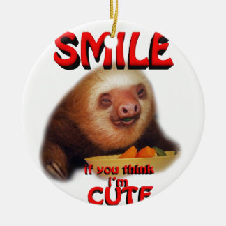 smile if you think i'm cute. round ceramic decoration