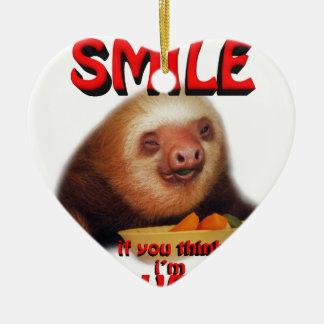 smile if you think i'm sweet ceramic heart decoration