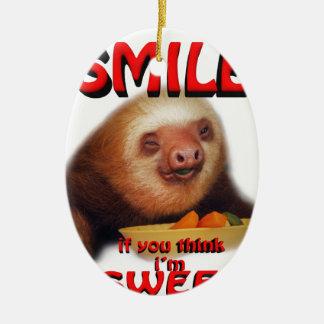 smile if you think i'm sweet ceramic oval decoration